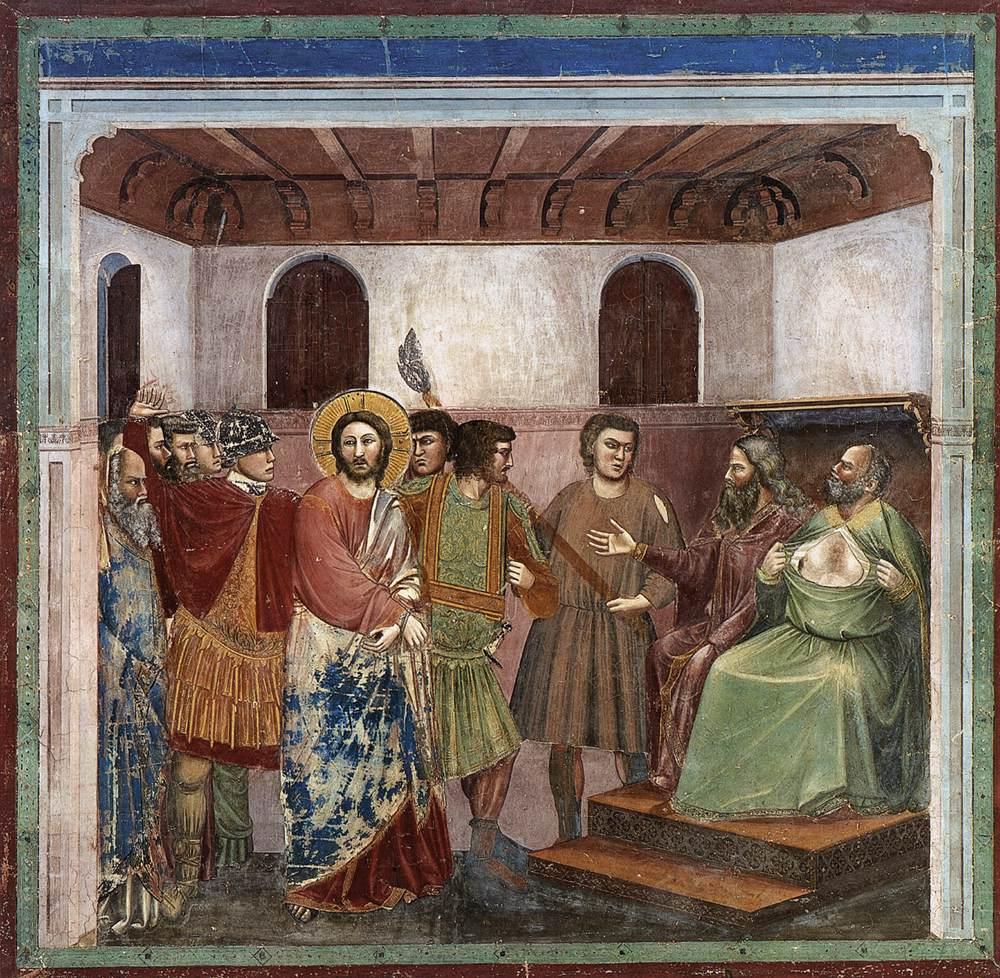 İsa Caiaphas Önünde - Giotto 14.yy