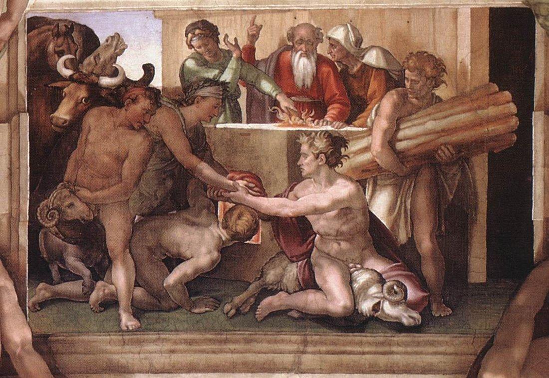 Nuh'un Kurbanı Michelangelo 16.yy