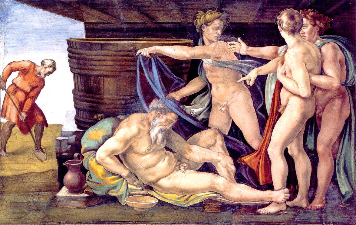 Nuh'un Sarhoşluğu Michelangelo 16.yy